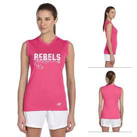 Customized New Balance 7117L Ladies' N-Durance Athletic V-Neck Workout T-Shirt