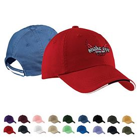 Customized Port Authority C830 Sandwich Bill Cap with Striped Closure