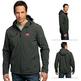 Customized Port Authority J706 Textured Hooded Soft Shell Jacket