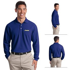 Customized Port Authority K800LS Long Sleeve EZCotton Pique Polo