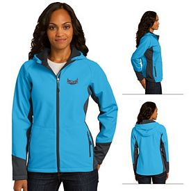 Customized Port Authority L319 Ladies Vertical Hooded Soft Shell Jacket