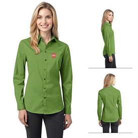 Customized Port Authority L646 Ladies Stretch Poplin Shirt