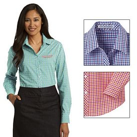 Customized Port Authority L654 Ladies Long Sleeve Gingham Easy Care Shirt