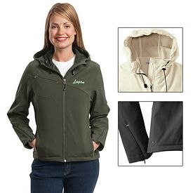 Customized Port Authority L706 Ladies Textured Hooded Soft Shell Jacket