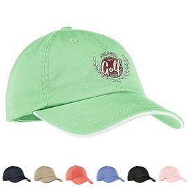 Customized Port Authority LC830 Ladies Sandwich Bill Cap with Striped Closure