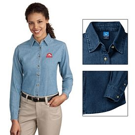 Customized Port & Company LSP10 Ladies Long Sleeve Value Denim Shirt
