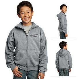 Customized Port & Company PC90YZH Youth Full-Zip Hooded Sweatshirt