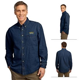 Customized Port & Company SP10 Men's Long Sleeve Value Denim Shirt