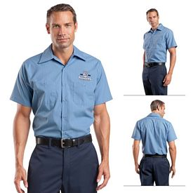Customized Red Kap CS20 Short Sleeve Striped Industrial Work Shirt