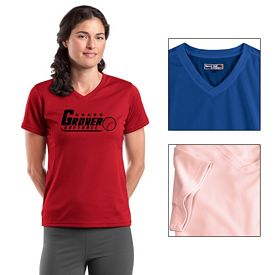 Customized Sport-Tek L468V Dri-Mesh Ladies V-Neck T-Shirt
