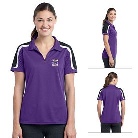 Customized Sport-Tek LST658 Ladies Tricolor Shoulder Micropique Sport-Wick Polo