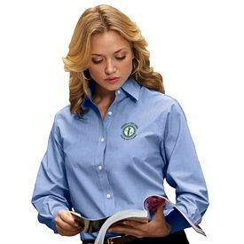 Customized UltraClub 8341 Ladies' Wrinkle Free End-On-End Shirt