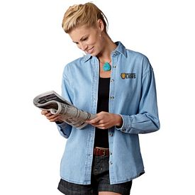 Customized UltraClub 8966 Ladies' 6.5 oz Long-Sleeve Cypress Denim Button Down