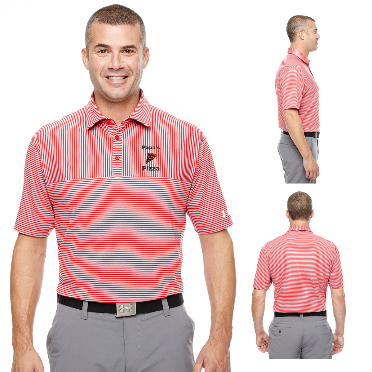 8362d03cbb Customized Under Armour MenS Striped Playoff Polo. Black with True Grey