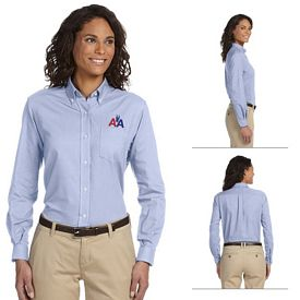 Customized Van Heusen 59800 Ladies Long-Sleeve Wrinkle-Resistant Oxford Shirt