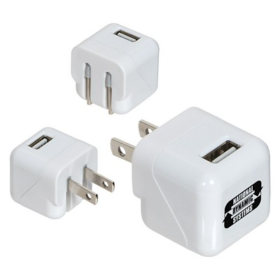 Promotional Ac-Usb Adapter With Foldable Prongs