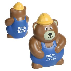 Promotional Construction Worker Bear Stress Reliever