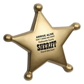 Promotional Sheriff Badge Stress Reliever