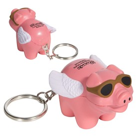 Customized Flying Pig Key Chain Stress Reliever