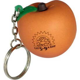 Promotional Peach Key Chain Stress Reliever