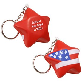 Custom Patriotic Star Key Chain Stress Reliever