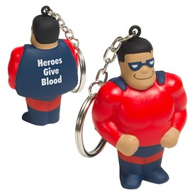 Promotional Super Hero Key Chain Stress Reliever