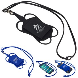 Custom Silicone Lanyard Smart Phone And Card Holder