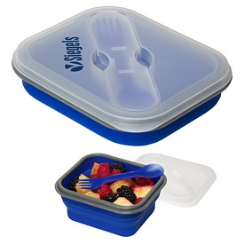 Promotional Collapsible Silicone Lunch Box With Fork Spoon