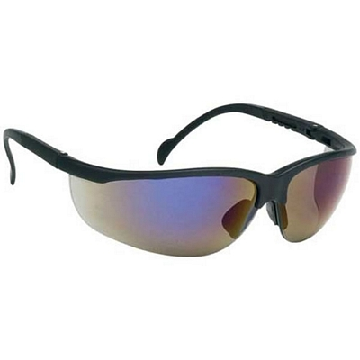Promotional Wrap-Around Polycarbonate Frame Blue Mirror Lens Safety Glasses