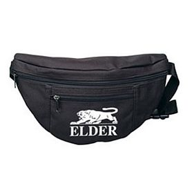Custom 2 Zipper Black Fanny Pack