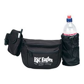 Promotional 3-Zipper Black Fanny Pack