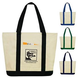 Customized Two-Tone Zippered Canvas Boat Tote Bag