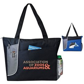 Promotional Highlight Full-Gusseted Zippered Tote Bag