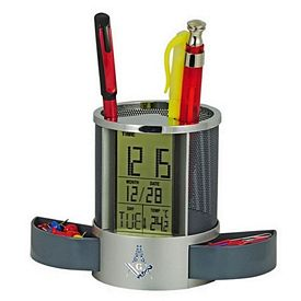 Customized Metal Pen Holder With Lcd Clock-Thermometer