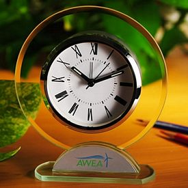 Custom Round Shaped Glass Table Alarm Clock