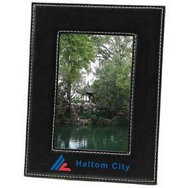 Custom Black Faux Leather Frame 4X6 Picture Frame