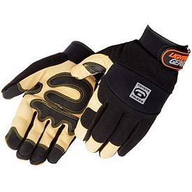 Customized Tan Grain Pigskin Reinforced Palm Mechanic Gloves