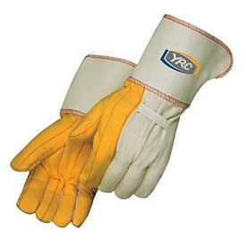 Promotional Golden Chore Gloves With Gauntlet Cuff