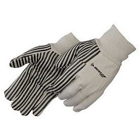 Promotional 10 Oz Canvas Safety Work Gloves With Black Pvc Stripes
