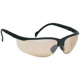 Customized Wrap-Around Polycarbonate Frame Brown Mirror Lens Safety Glasses