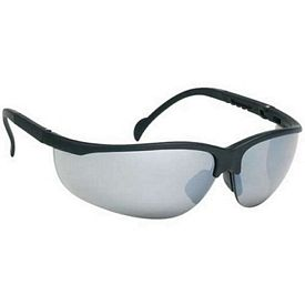 Promotional Wrap-Around Polycarbonate Frame Silver Mirror Lens Safety Glasses
