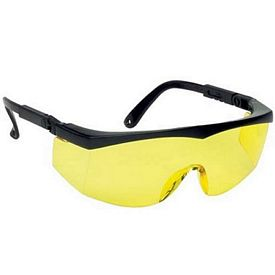Customized Large Single-Lens Yellow Safety Glasses With Ratchet Temples