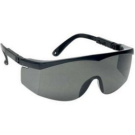 Custom Large Single-Lens Grey Safety Glasses With Ratchet Temples