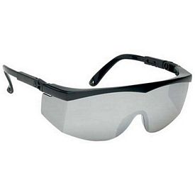 Promotional Large Single-Lens Silver Mirror Safety Glasses With Ratchet Temples