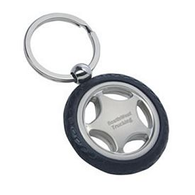 Promotional Rubber Tire Silver Plated Key Tag