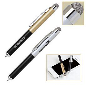 Customized Fiber Cloth Soft-Touch Stylus Aluminum Ballpoint Pen