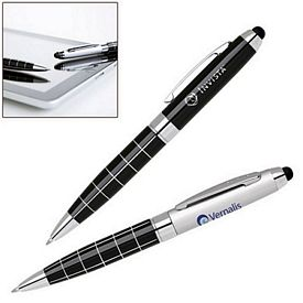 Promotional Capacitive Stylus Classic Grid Barrel Ballpoint Pen