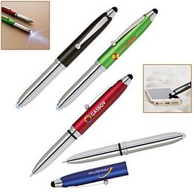 Promotional Pinnacle 3-In-1 Soft-Touch Stylus Led Flashlight And Ballpoint Pen