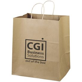 Promotional 14x15 Eco Shopper-Brute Recycled Brown Paper Tote Bag