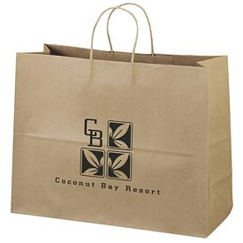 Promotional 16x12 Eco Shopper-Vogue Recycled Brown Paper Tote Bag